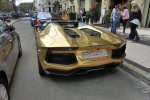 GOLD Saudi Lamborghini Aventador roadster in Paris.